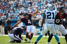Sep 20, 2015; Charlotte, NC, USA; Houston Texans kicker Randy Bullock (4) kick a field goal in the first quarter at Bank of America Stadium.  Bob Donnan-USA TODAY Sports