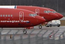 Parked Boeing 737-800 aircrafts belonging to budget carrier Norwegian Air are pictured at Stockholm Arlanda Airport March 6, 2015. REUTERS/Johan Nilsson/TT News Agency