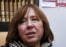 Belarussian author Svetlana Alexievich speaks during a news conference in Minsk, Belarus, October 8, 2015.  REUTERS/Vasily Fedosenko