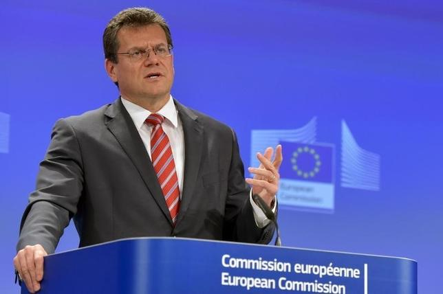 Vice-President of the European Commission in charge of Energy Union Maros Sefcovic holds a news conference on the EU-Russia-Ukraine trilateral gas talks in Vienna, at the EC headquarters in Brussels, Belgium, July 1, 2015.  REUTERS/Eric Vidal