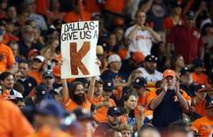 Oct 11, 2015; Houston, TX, USA; Houston Astros fan holds a sign for starting pitcher Dallas Keuchel (not pictured) during game three of the ALDS against the Kansas City Royals at Minute Maid Park. Mandatory Credit: Troy Taormina-USA TODAY Sports