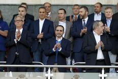 Jordanian Prince Ali bin Al Hussein (C) attends the 2018 World Cup qualifying soccer match between Jordan and Australia at the Amman International Stadium in Amman, Jordan October 8, 2015. REUTERS/Muhammad Hamed