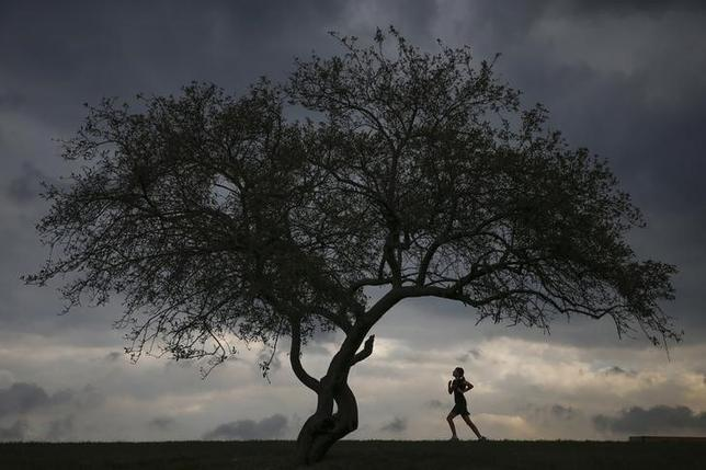 A woman is seen jogging at Cunningham Park in the borough of Queens in New York, September 16, 2014.  REUTERS/Shannon Stapleton
