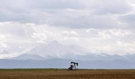An oil derrick can be seen in a field near Denver, Colorado May 16, 2008. REUTERS/Lucas Jackson (UNITED STATES) - RTX5X9D
