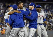 October 15, 2015; Los Angeles, CA, USA; New York Mets relief pitcher Jeurys Familia (27) celebrates the 3-2 victory against Los Angeles Dodgers following game five of NLDS at Dodger Stadium. Mandatory Credit: Richard Mackson-USA TODAY Sports
