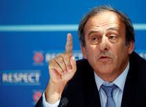 Presidente da Uefa, Michel Platini, durante evento em Monte Carlo.  28/08/2015   REUTERS/Eric Gaillard