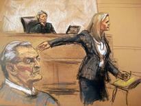 Vincent Asaro (L) and Judge Allyne Ross look on as prosecutor Lindsay Gerdes (R) makes opening statements in Asaro's trial in this court sketch from New York October 19, 2015.  REUTERS/Jane Rosenberg
