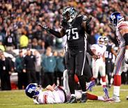 Philadelphia Eagles defensive end Vinny Curry (75) reacts after pressuring New York Giants quarterback Eli Manning (10) into intentional grounding during the fourth quarter at Lincoln Financial Field. The Eagles defeated the Giants, 27-7. Mandatory Credit: Eric Hartline-USA TODAY Sports