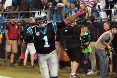 Oct 25, 2015; Charlotte, NC, USA; Carolina Panthers quarterback Cam Newton (1) celebrates after a touchdown during the second quarter against the Philadelphia Eagles at Bank of America Stadium. Mandatory Credit: Jeremy Brevard-USA TODAY Sports