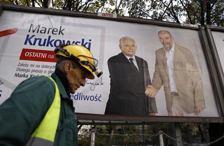 A worker walks in front of an election poster depicting Law and Justice's (PiS) candidate Marek Krukowski and party's leader Jaroslaw Kaczynski (L) in Warsaw, Poland, October 26, 2015. REUTERS/Kacper Pempel