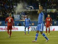 Oct 29, 2015; Montreal, Quebec, CAN; Montreal Impact forward Didier Drogba (11) reacts during the second half of a knockout round match of the 2015 MLS Cup Playoffs against the Toronto FC at Stade Saputo. Mandatory Credit: Eric Bolte-USA TODAY Sports