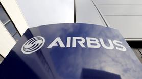 Airbus's company logo is pictured at the Airbus headquarters in Toulouse, in this December 4, 2014 file photo. REUTERS/ Regis Duvignau/Files