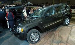 The Jeep Grand Cherokee is displayed at the New York International Automobile Show in New York on April 7, 2004. REUTERS/Chip East  CME