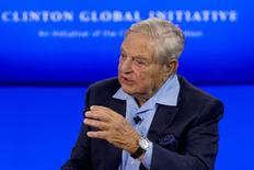 Billionaire hedge fund manager George Soros speaks during a discussion at the Clinton Global Initiative's annual meeting in New York, September 27, 2015.  REUTERS/Brendan McDermid