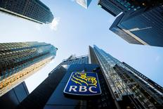 A Royal Bank of Canada (RBC) logo is seen on Bay Street in the heart of the financial district in Toronto in this  January 22, 2015. REUTERS/Mark Blinch/Files