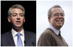 A combination file photo shows Bill Ackman (L), chief executive officer and portfolio manager of Pershing Square Capital Management, L.P., speaking in New York on May 8, 2013 and John Hempton (R), Chief Investment Officer Bronte Capital Management, posing for a photograph in Sydney on July 1, 2011. REUTERS/Files