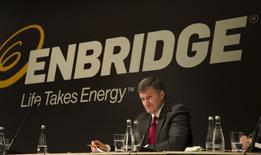 Al Monaco, President and CEO, Enbridge, listens before speaking during the Enbridge Income Fund annual general meeting for shareholders in Toronto May 6, 2015.    REUTERS/Peter Power