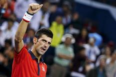 File photo of Novak Djokovic of Serbia celebrating after beating Andy Murray of Britain in their men's singles semi-final match at the Shanghai Masters tennis tournament in Shanghai, China, October 17, 2015. REUTERS/Damir Sagolj
