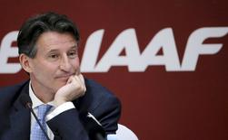 Newly elected President of International Association of Athletics Federations Sebastian Coe listens to a question at a news conference in Beijing, in this August 19, 2015 file photo.  REUTERS/Jason Lee/Files