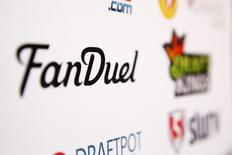 A FanDuel logo is displayed on a board inside of the DFS Players Conference in New York November 13, 2015. REUTERS/Lucas Jackson