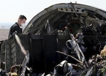 Российский следователь работает на месте крушения самолета в Египте. 1 ноября 2015 года. Расследование катастрофы российского авиалайнера, разбившегося на Синайском полуострове 31 октября, близится к завершению, сказал президент РФ Владимир Путин. REUTERS/Mohamed Abd El Ghany