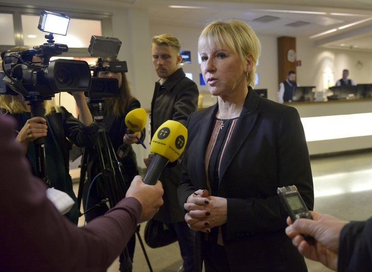 Sweden's Minister for Foreign Affairs Margot Wallstrom gives a statement to media regarding the attacks in Paris, in Stockholm, Sweden November 14, 2015.REUTERS/Henrik Montgomery/TT NEWS AGENCY