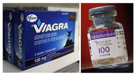 A box of Pfizer drug Viagra and a bottle of Allergan product Botox are seen in a combination of file photos.  REUTERS/Mark Blinch/Shannon Stapleton/Files