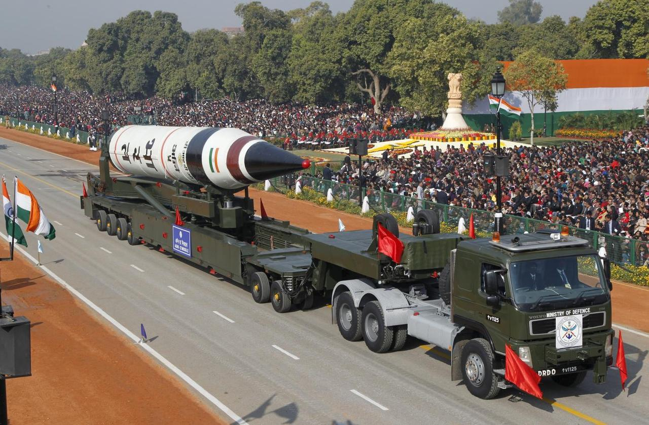 A surface-to-surface Agni V missile is displayed during the Republic Day parade in New Delhi, India, in this January 26, 2013 file photo.