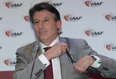 Sebastian Coe, IAAF's President, attends the IAAF press conference in Monaco, November 26, 2015.  REUTERS/Jean-Pierre Amet