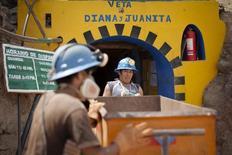 Trabajadores de la compañéria minera Aurelsa empujan un carro para remover piedras que contienen oro, en un tunel cerca de Relave, 20 de febrero de 2014. La producción del vital sector de minería e hidrocarburos en Perú creció en octubre un 9,46 por ciento interanual y acumuló ocho meses de avances consecutivos, dijo el martes el Gobierno, debido al continuo aumento de la extracción de cobre y zinc. REUTERS/ Enrique Castro-Mendivil