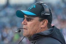Nov 22, 2015; Charlotte, NC, USA; Carolina Panthers head coach Ron Rivera looks on during the fourth quarter against the Washington Redskins at Bank of America Stadium. The Panthers won 44-16. Mandatory Credit: Jeremy Brevard-USA TODAY Sports