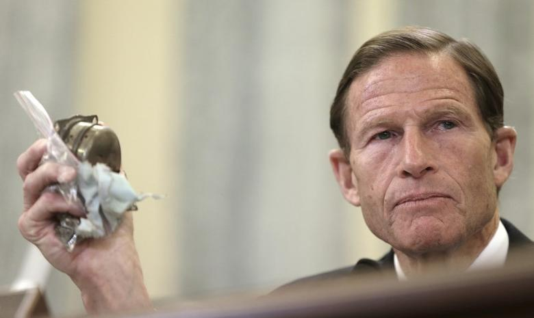 Senator Richard Blumenthal (D-CT) holds the remnants of a defective Takata airbag inflator during a hearing at a Senate Commerce, Science and Transportation hearing on Capitol Hill in Washington June 23, 2015. REUTERS/Gary Cameron