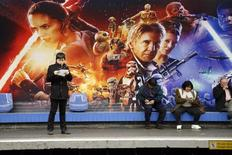 People wait into a metro station decorated with Star Wars characters to promote the upcoming film 'Star Wars: The Force Awakens'  in Paris, France, December 1, 2015. REUTERS/Charles Platiau