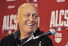 Oct 9, 2014; Baltimore, MD, USA; Baltimore Orioles former shortstop Cal Ripken, Jr. is interviewed during workouts the day before game one of the 2014 ALCS at Oriole Park at Camden Yards. Mandatory Credit: Joy R. Absalon-USA TODAY Sports