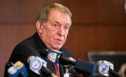 Dec 7, 2015; Philadelphia, PA, USA; Jerry Colangelo speaks to the media after being named special advisor for the Philadelphia 76ers before a game against the San Antonio Spurs at Wells Fargo Center. Mandatory Credit: Bill Streicher-USA TODAY Sports