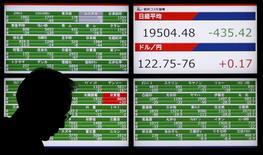 Un hombre camina junto a un tablero electrónico que muestra el índice Nikkei, afuera de una correduría en Tokio, Japón, 4 de diciembre de 2015. Las acciones japonesas cayeron el martes luego de que un fuerte declive en el precio del petróleo y otras materias primas contrarrestó la noticia de que la economía nipona esquivó una recesión en el tercer trimestre. REUTERS/Toru Hanai
