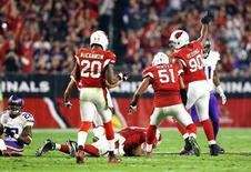 Arizona Cardinals linebacker Alex Okafor recovers a fumble as defensive end Cory Redding (90) celebrates in the second half against the Minnesota Vikings at University of Phoenix Stadium. Mark J. Rebilas-USA TODAY Sports