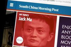 Foto de archivo del sitio web del South China Morning Post, con una imagen de Jack Ma, CEO de Alibaba, en la pantalla de un computador en Hong Kong, China, 23 de noviembre de 2015. El gigante chino de comercio electrónico Alibaba Group Holding Ltd llegó a un acuerdo para comprar el South China Morning Post, el principal diario en inglés publicado en Hong Kong, anunciaron el viernes la compañía y SCMP Group Ltd. REUTERS/Tyrone Siu/Files