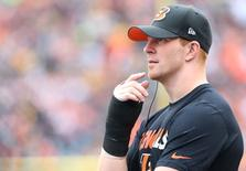 Cincinnati Bengals quarterback Andy Dalton (14) looks on from the sidelines against the Pittsburgh Steelers in the second half at Paul Brown Stadium. Aaron Doster-USA TODAY Sports