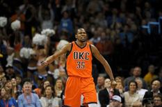 Dec 13, 2015; Oklahoma City, OK, USA; Oklahoma City Thunder forward Kevin Durant (35) reacts after a play against the Utah Jazz during the fourth quarter at Chesapeake Energy Arena. Mark D. Smith-USA TODAY Sports