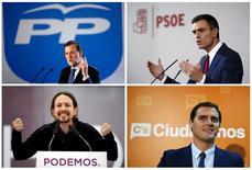 El próximo 20 de diciembre España celebra elecciones generales y los sondeos apuntan a un Parlamento muy fragmentado con cuatro partidos repartiéndose la mayoría de los diputados pero sin suficientes representantes para aplicar su programa al completo. En esta combinación de imágenes (en el sentido de las agujas del reloj, desde arriba a la izquierda),  el presidente del Gobierno, Mariano Rajoy, en Barcelona, el 31 de enero; el líder del PSOE, Pedro Sánchez, en Madrid el 28 de octubre; el candidato de Ciudadanos, Albert Rivera, en Madrid el 27 de octubre, y el líder de Podemos, Pablo Iglesias, en Oviedo el 17 de mayo. REUTERS/Albert Gea/Paul Hanna/Eloy Alonso/Andrea Comas