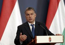 Hungary's Prime Minister Viktor Orban speaks during a news conference with Macedonia's Prime Minister Nikola Gruevski in Budapest, Hungary, November 20, 2015. REUTERS/Laszlo Balogh