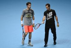 Tennis - Barclays ATP World Tour Finals Media Day - O2 Arena, London - 13/11/15 Great Britain's Andy Murray with coach Jonas Bjorkman during a practice session Action Images via Reuters / Tony O'Brien