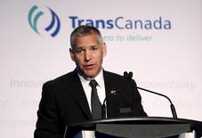President and CEO Russ Girling of TransCanada addresses shareholders during the company's annual general meeting in Calgary, Alberta, May 1, 2015.  REUTERS/Todd Korol