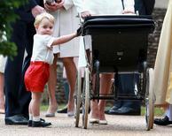 Príncipe George, primeiro filho do príncipe William e de sua mulher, Kate, após batizado da irmã,  na Grã-Bretanha.   06/07/2015    REUTERS/Chris Jackson/Pool