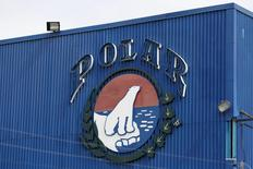 The corporate logo of Empresas Polar is seen at a facility of the company in Caracas July 30, 2015. REUTERS/Carlos Garcia Rawlins