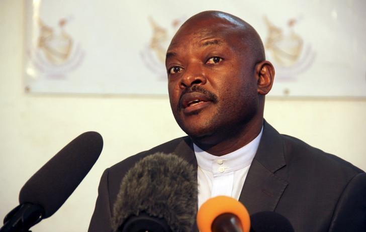 Burundian President Pierre Nkurunziza speaks to the media after he registered to run for a third five-year term in office, in the capital Bujumbura, May 8, 2015. REUTERS/Jean Pierre Aime Harerimana