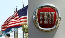 Una bandera estadounidense ondea detrás del logo de Fiat, en una automotora en Alexandria, Virginia, 3 de junio de 2011. Las automotrices establecieron un nuevo récord de ventas en  Estados Unidos en 2015 pese a que el desempeño en diciembre fue menor al esperado, y la mayoría de los expertos dicen que este año será aún mejor. REUTERS/Kevin Lamarque