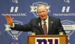 Jan 5, 2016; East Rutherford, NJ, USA;  New York Giants former head coach Tom Coughlin addresses the media during a press conference at Quest Diagnostics Training Center. Jim O'Connor-USA TODAY Sports