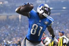 Detroit Lions wide receiver Calvin Johnson (81) celebrates his touchdown against the Philadelphia Eagles during the third quarter of a NFL game on Thanksgiving 2015 at Ford Field. Tim Fuller-USA TODAY Sports